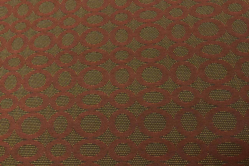 Rainbow Fabrics WU: Tan Circles Brown Waterproof Upholstery - 05