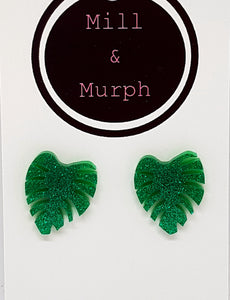 Monstera Leaf Studs - SELECT COLOUR