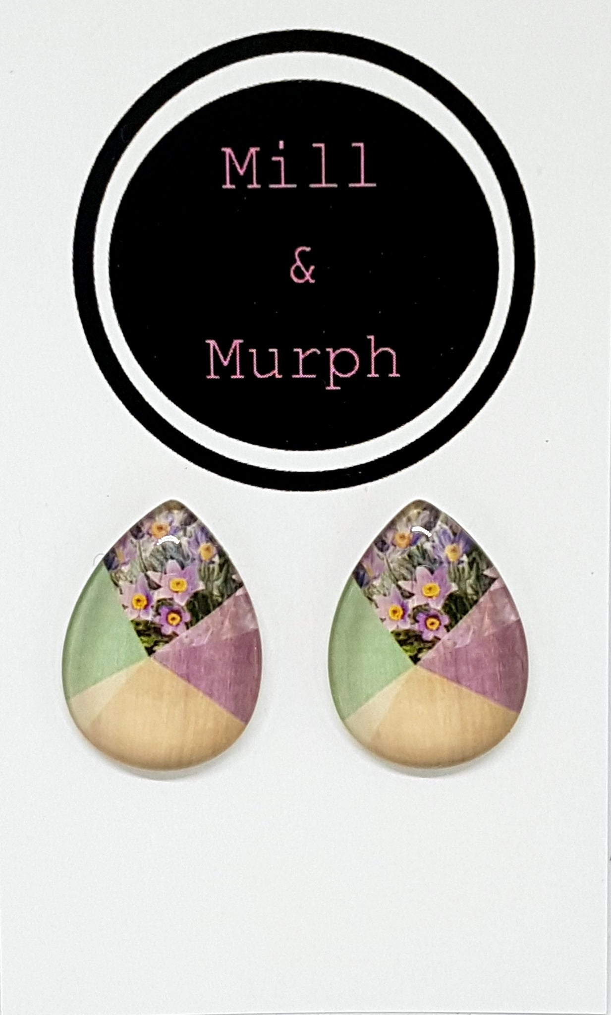 Floral Photo Teardrop Glass Studs