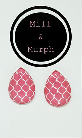 Pink Deco Glass Studs