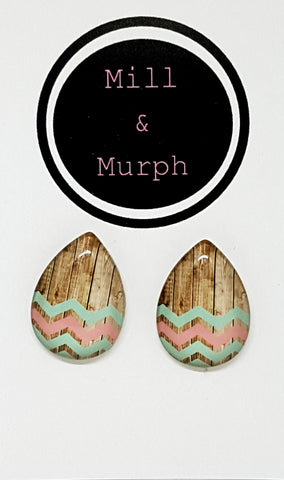Ziggy Zag Glass Studs