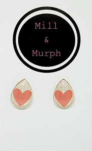 Pink Love Heart Glass Studs