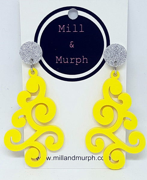 Curly Wurly Dangle Earrings - SELECT COLOUR