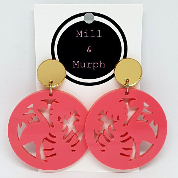 Flamingo Tropical Disc Dangle Earrings - SELECT COLOUR