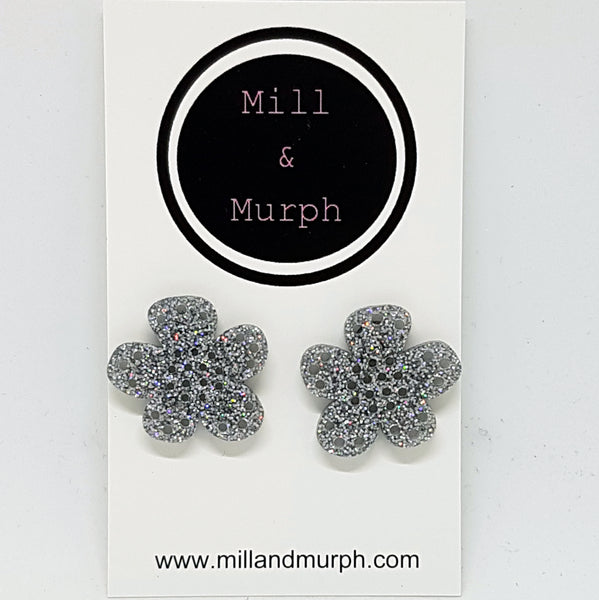 Large Acrylic Flower Studs - SELECT COLOUR