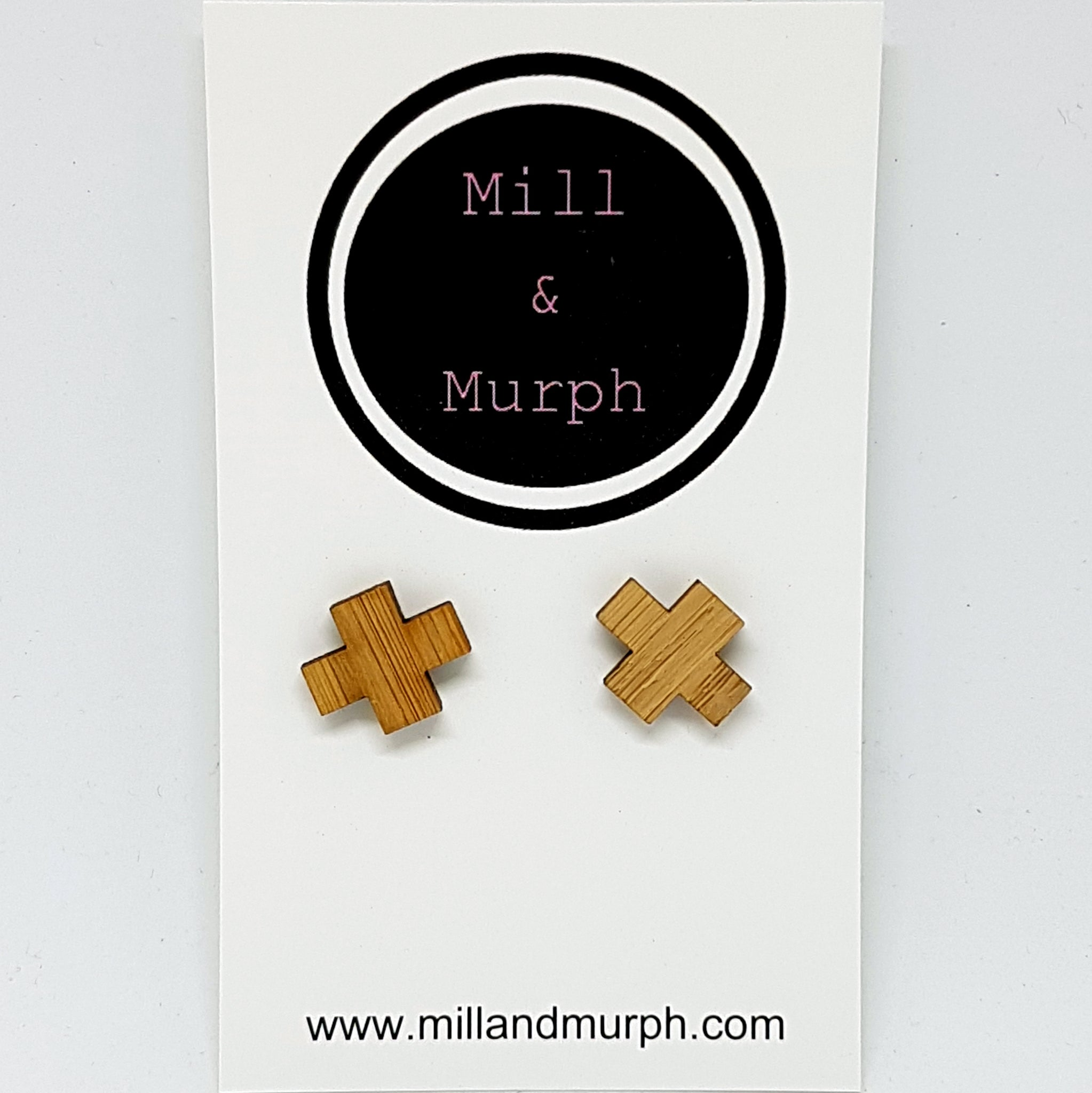 Cross Bamboo Studs