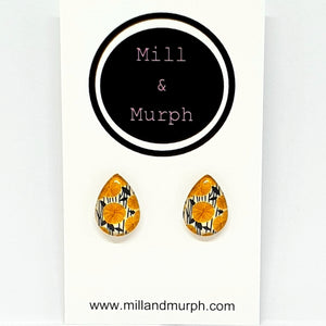 Mustard Flower Pop Glass Studs