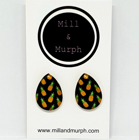 Pineapples Teardrop Glass Studs - SELECT COLOUR