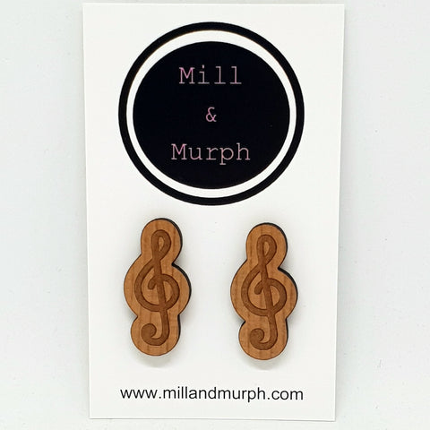 Mega Music Note Cherrywood Studs