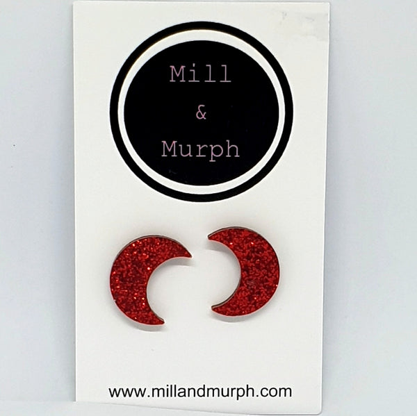 Crescent Moon Studs - SELECT COLOUR