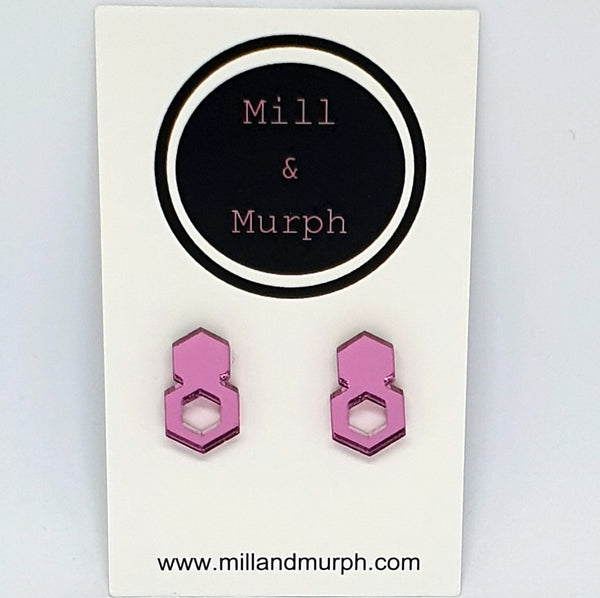 Mirror Drop Studs - SELECT COLOUR