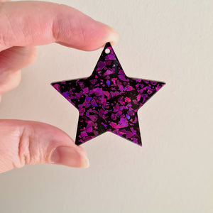 Sparkly Stars - Purple Crackle - 3 pairs