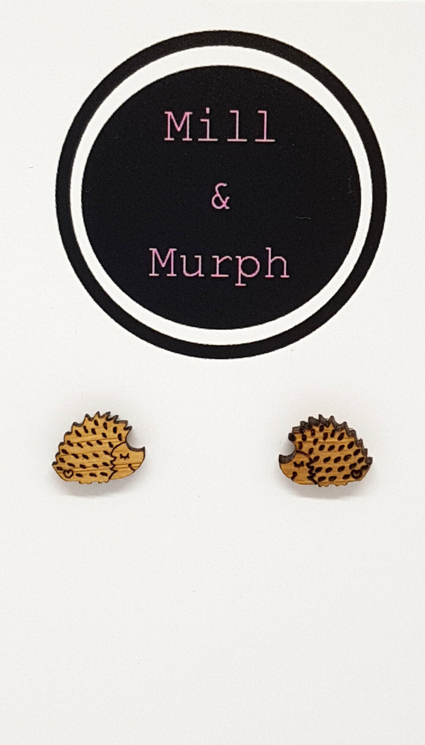 Sleepy Hedgehog Bamboo Studs