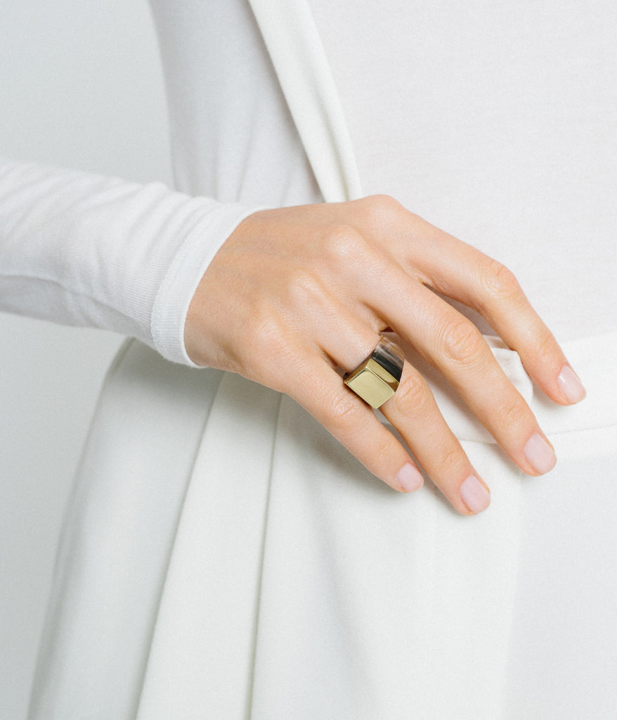 Ankole Horn & Pure Brass Statement Ring - Dark,  - Rose & Fitzgerald