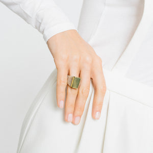 Ankole Horn & Pure Brass Statement Ring - Light