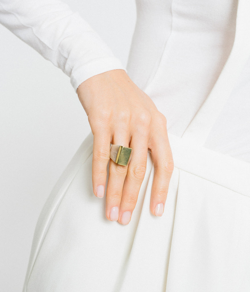 Ankole Horn & Pure Brass Statement Ring - Light,  - Rose & Fitzgerald