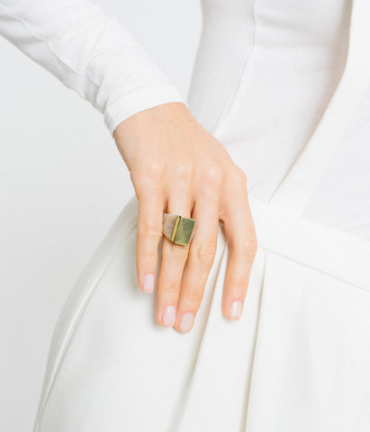 Ankole Horn & Pure Brass Statement Ring - Light - Rose & Fitzgerald