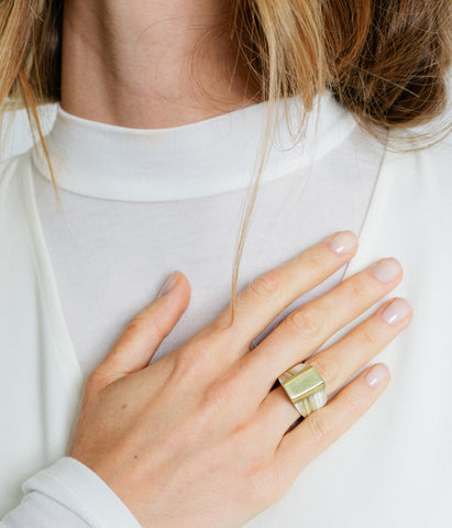 Ankole Horn & Pure Brass Statement Ring - Layered