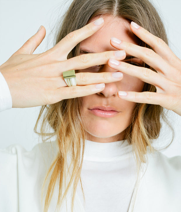 Ankole Horn & Pure Brass Statement Ring - Layered 1