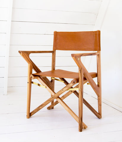 Baker's Modern Safari Chair - Teak & Caramel Leather