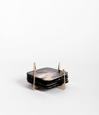 Pure Brass & Ankole Horn Coaster Set - Dark Horn