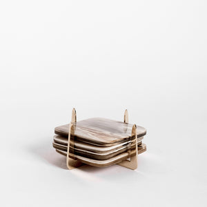 Pure Brass & Ankole Horn Coaster Set - Light Horn