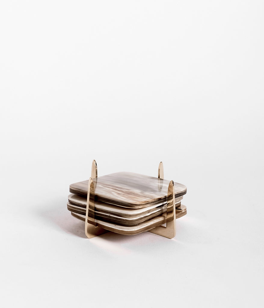 Pure Brass & Ankole Horn Coaster Set - Light Horn - Rose & Fitzgerald