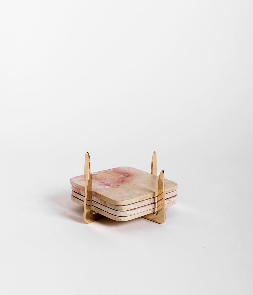 Pure Brass & Soapstone Coaster Set,  - Rose & Fitzgerald