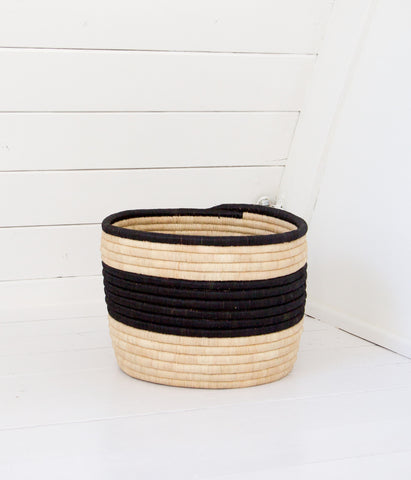 Palm Striped Storage Basket - Black & Natural