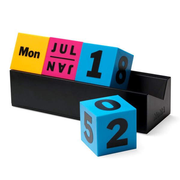 MoMA Calendar Perpetual Cubes Blk/Red or Multi Coloured.