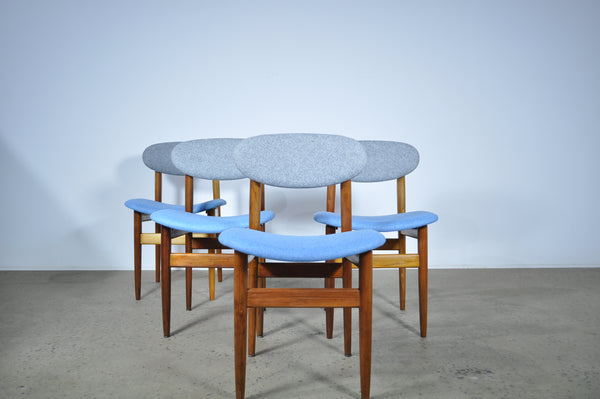 Elite dining chairs in a Maharam Felt fabric. Set of four.