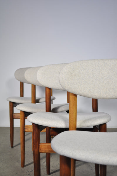 Elite dining chairs . Set of six in Maharam felt.