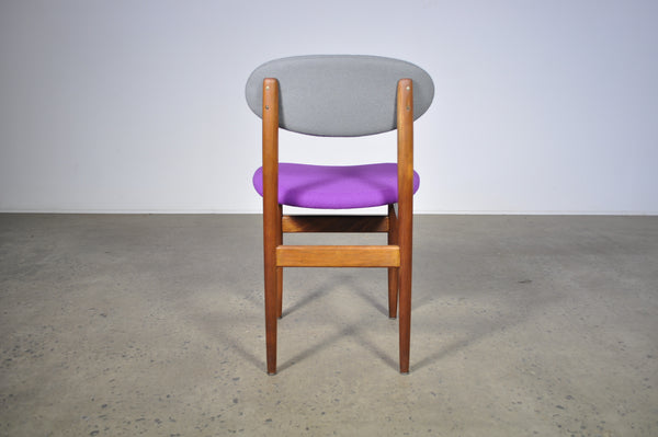 Elite dining chairs . Set of four in two tone purple and grey.