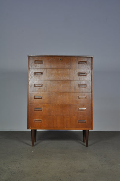 Danish chest with six draws in teak.