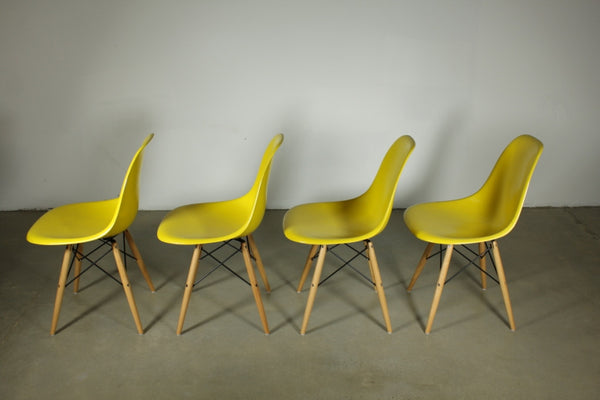 Eames Yellow Fibreglass Dining chairs with Timber legs