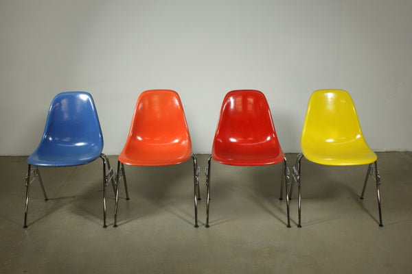 Set of 4 Eames Multi Colour Dining Chairs on stacking bases - Case 22