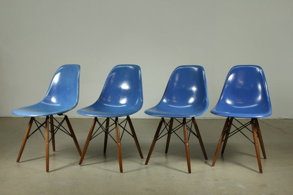 Eames Fibreglass dining chair in Blue with dark wooden legs - Case 22