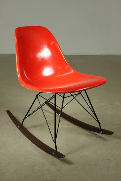 Eames Fibreglass Red Rocker - Case 22