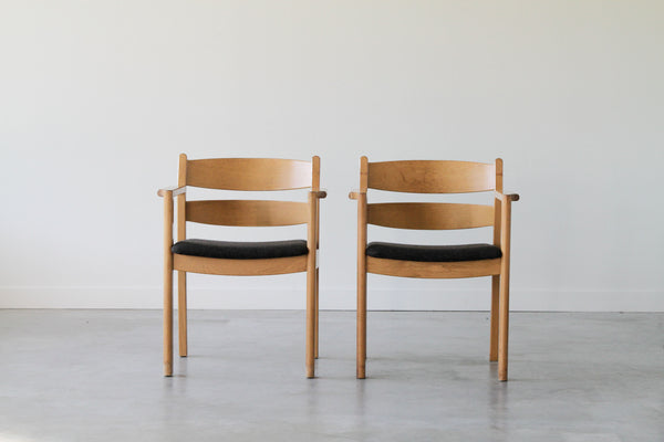 Kurt Østervig Oak Dining Chair in grey. Set of 6. (Under restoration)