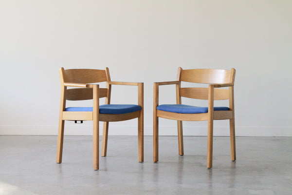 Kurt Østervig Oak Dining Chair in blue. Set of 6. (Under restoration)