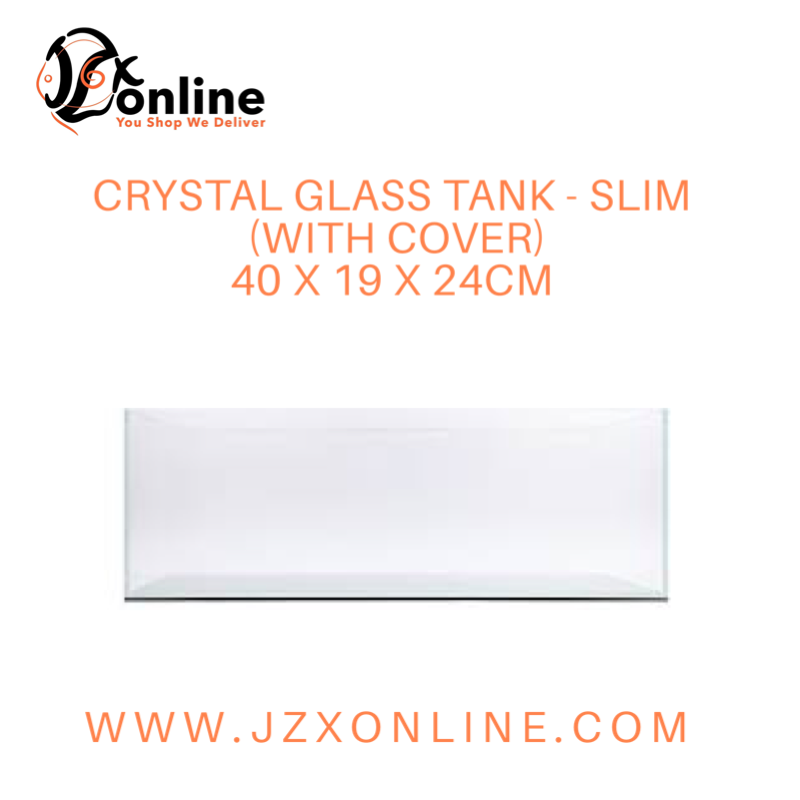 Crystal Glass Tank Slim (With Cover) - 40 x 19 x 24cm
