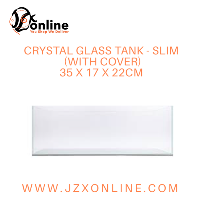 Crystal Glass Tank Slim (With Cover) - 35 x 17 x 22cm
