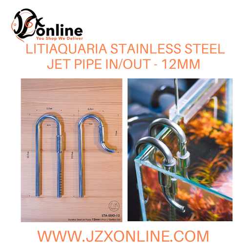 LITIAQUARIA 12mm Stainless Steel Jet Pipe In/Out