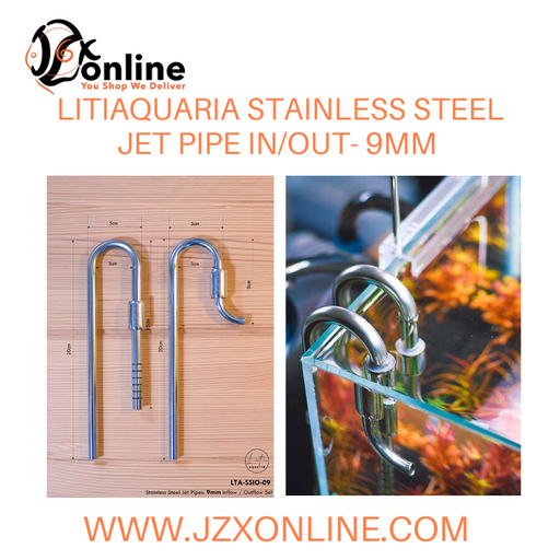 LITIAQUARIA 9mm Stainless Steel Jet Pipe In/Out