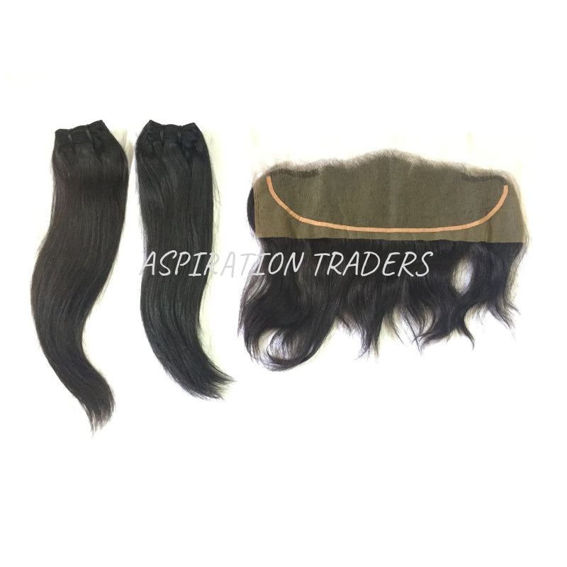 Virgin Natural Straight Hair Extension - 2 Bundles + 1 Frontal - Aspiration Traders
