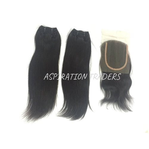 Virgin Straight Hair Extension - 2 Bundles + 1 Closure - Aspiration Traders