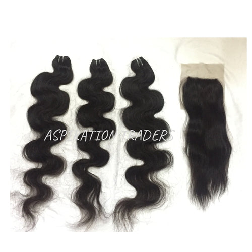Virgin Natural Body Wave Hair Extension - 3 Bundles + 1 Closure - Aspiration Traders