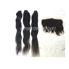 Load image into Gallery viewer, Virgin Natural Straight Hair Extension - 3 Bundles + 1 Frontal - Aspiration Traders