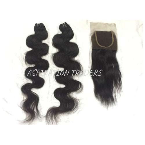 Virgin Natural Body Wave Hair Extension - 2 Bundles + 1 Closure - Aspiration Traders