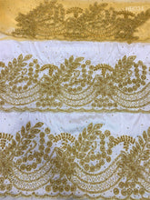 Load image into Gallery viewer, Latest White Color Taffeta George With Golden Stone Work For Igbo Brides- HB034